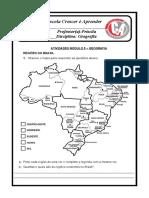 ATIVIDADES de GEOGRAFIA REGIÕES DO BRASIL 4º ano 2020