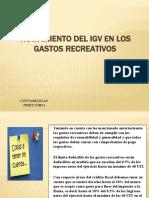 TRATAMIENTO DEL IGV EN LOS GASTOS RECREATIVOS