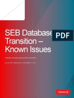 SEB Database Transitions - Known Issues(1)