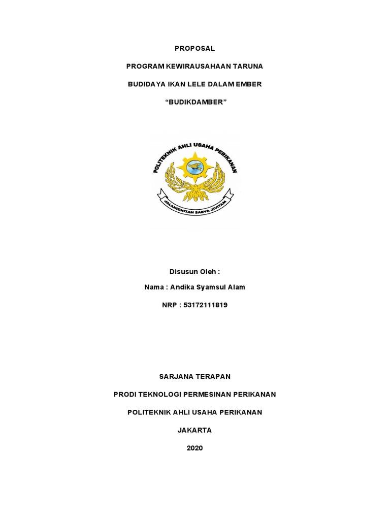Proposal Program Kewirausahaan Taruna Budidaya Ikan Lele Dalam Ember Budikdamber