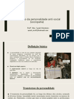 Aula 22 - Sociopatia - Transtorno da personalidade anti-social