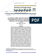 El Apego como uno de los elementos fundamentales en el funcionamiento psiquico de las victimas reincidentes
