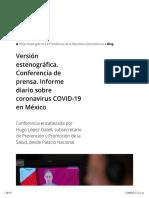 Versión estenográfica. Conferencia de prensa. Informe diario sobre coronavirus COVID-19 en México 21 junio 2020