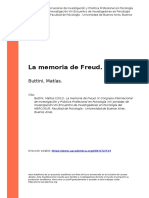 Buttini, Matias (2012). La memoria de Freud