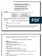 COMUNICADO 003-2010
