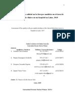 Evaluación de la calidad en la fase pre analítica del laboratorio clinico