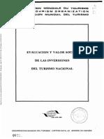 Evaluación y Valor social de las inversiones en el turismo nacional