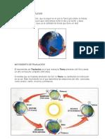 Movimientos de la tierra (rotación y traslación)