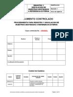 PROCEDIMIENTO PARA REGISTRO Y VINCULACION DE MUESTRAS DESTINADAS A REFERENCIA EXTERNA