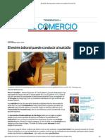 El estrés laboral puede conducir al suicidio _ El Comercio