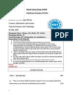 DBS Final Exam- S2020