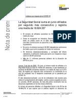 Nota de prensa del Ministerio de Trabajo, Migraciones y Seguridad Social sobre los datos de afiliación a la Seguridad Social de junio del 2020.