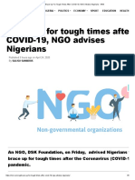 Brace Up For Tough Times After COVID-19, NGO Advises Nigerians - NNN.pdf