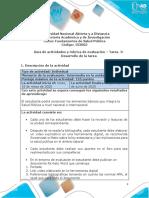Guía de actividades y rúbrica de evaluación – Tarea  3-Desarrollo de la tarea