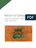 Return to Campus Plan - Revised 6-30-2020