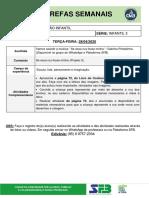 TAREFAS DIÁRIAS - Infantil 3 - 28 de abril