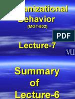 Organizational Behaviour - MGT502 Power Point Slides Lecture 7