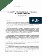 Fe, Razon y Hermeneutica en El Pensamiento de Los Judios Hispanos