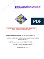 NORMA DE CONTROL Y VIGILANCIA SANITARIA EN LOS ESTABLECMIENTOS FARMACEÚTICOS