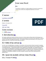 Utilisation du Solveur sous Excel