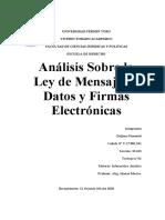 Analisis Sobre la Ley de Mensaje de Datos y Firmas Electronicas