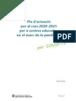 El pla d'actuació d'Educació per al curs 2020-2021