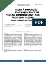 UMA VIAGEM À PRODUÇÃO de QVT de 2000 a 2005 anapad