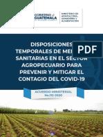 Disposiciones para la prevención de contagio por Covid19 en el sector agrícola