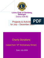 Lions Club of Serdang * July-Dec 2004 * Projects & Activities