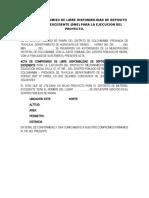 ACTA DE COMPROMISO DE LIBRE DISPONIBILIDAD DE DEPOSITO DE MATERIAL EXCEDENTE. RANRA