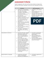 Writing Assessment Criteria & Format