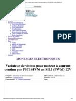 Variateur de vitesse pour moteur à courant continu par PIC16F876 en MLI (PWM) 12V