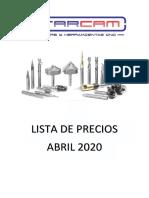 LISTA DE PRECIOS FRESAS STARCAM ABRIL 2020