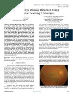 Diabetic Eye Disease Detection Using Machine Learning Techniques