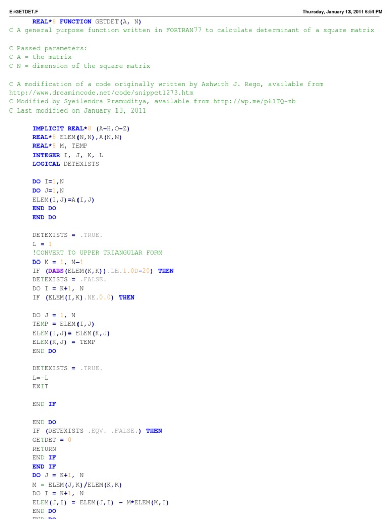 FORTRAN77 Function to calculate matrix determinant