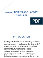 Marketing Research Across Cultures