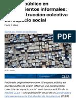 Espacio público en asentamientos informales