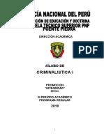 SILABUS CRIMINALISTICA I-INTEGRIDAD-2019