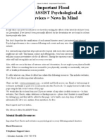 News in Mind - Important Flood Information _ ASSIST Psychological and Counselling Services _ News in Mind