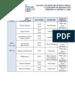 Calendario de Reparacion SEMESTRAL  2020-I PUERTO ORDAZ n