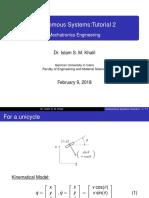 Autonomous Systems Tutorial 2