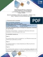 Guía de actividades y rúbrica de evaluación - Unidad 1- Pre - tarea - Realizar el reconocimiento del curso