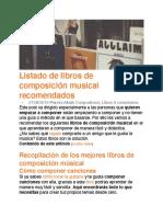 Listado de libros de composición musical recomendados - Planeta musik