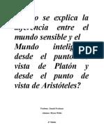 ensayo de filosofia, mundo sensible y mundo inteligible segun Platon y Aristoteles
