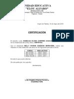 CERTIFICADO DE ASISTENCIA DE ESTUDIAN TES