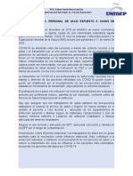CUIDADOS PARA EL PERSONAL DE SALID EXPUESTO A CASOS DE COVID19
