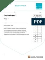 2011 Cambridge Primary Progression Tests English Stage 4 QP Paper 1