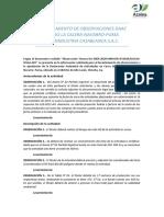 LEVANTAMIENTO DE OBSERVACIONES DAAC FUNDO LA CALERA
