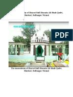 A brief biography of Hazrat Sufi Hussain Shah Qadri  Sufinagar Nirmal