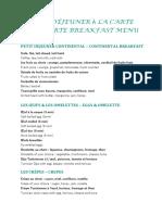 Carte Petit Dejeuner